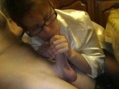 Amateur Mature Babe with glasses Blowjob