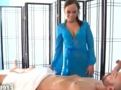 Tattooed petite massage clients huge meatbone with her mouth