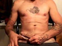 Tattooed Muscle Guy Big Slow motion Cumshot