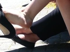 Candid breathtaking Legs & Feet Shoeplay Dangle at Lunch