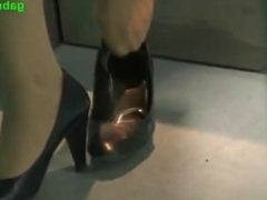 Candid Airport hostess Nylon Shoeplay Legs & Feet