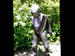 Horny biker wearing crysis morphsuit under his leathers needs to jerk off