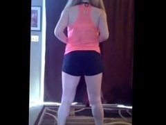 very sexy blonde doing exercise with a great ass