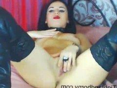 Sexy brunette Lila masturbating on webcam - tightandhorny.com