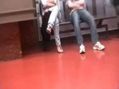 Candid Feet and Red Toes at Train Station Face