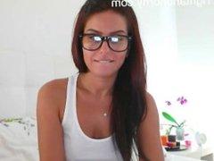 Sexy busty brunette masturbating on webcam - tightandhorny.com