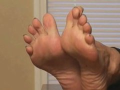 Mature wrinkled soles foot JOI and toe curling