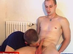 Delivery guy (hetero) gets sucked by a client in spite of him!