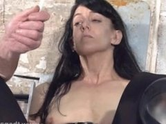 Feet tortures of slave Elise Graves in dungeon bondage and gruesome foot fe