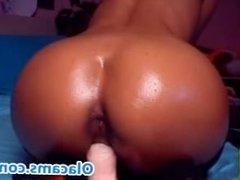 Nice riding big-ass teen brunette on webcam