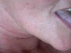 Granny Swallows Hot Cum - Closeup