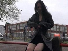 Gothic exhibitionist Fayth Corbin flashes and masturbates in public