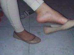Mexican teen shoeplay flats dangling via DATES25.COM