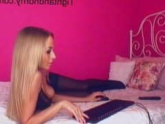 Sexy blonde playing with herself on webcam - tightandhorny.com