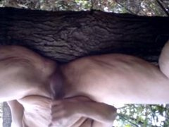 Chub Jerks Off and Cums in the Woods