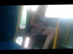 Sexy teen legs on bus. Meet her on dates25.com