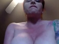 Cougar Redhead with Huge Boobs Rides his Hard Cock POV