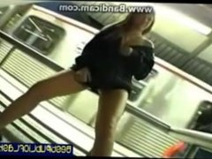 Hot girl flashing her pussy in public