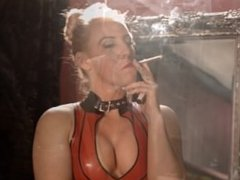 Jane smoking brown mores 120s in red latex dress