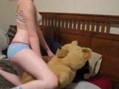 Riley Rebel gives Lucky Teddy Bear a Lapdance