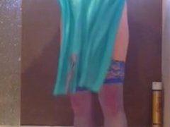 JORGINA - IN BLUE LINGERIE PLAYING WITH LARGE TOYS IN SHOWER