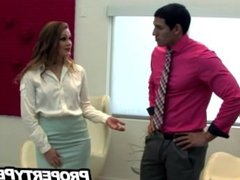 Sexy ass real estate agent Abby Cross fucks her client to sell house