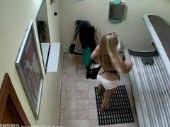 Blonde Girl up skirt Wear thong
