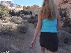 Hot Blonde babe fucks on hike