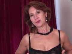 Mature strips and plays with her toy