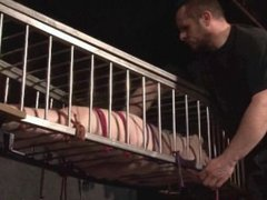 Slave Caroline Pierces cage bondage and lesbian bdsm of american submissive