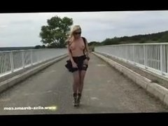 Beryl from DATES25.COM - Flashing in public and cumshot outdoors