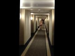 Sexy milf in heels walking naked in motel hallway. Debera from DATES25.COM