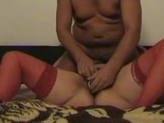 Edelmira from DATES25.COM - Hairy milfs in red stockings love dildo