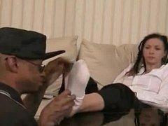 Black Man Worships at Dreadheaded White Goddess's Smelly Feet
