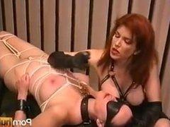 Female slave cigarette Tit Torture