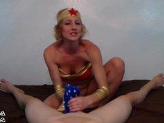 Cosplay With Brittany Lynn as Wonder Woman Giving POV Panty Handjob