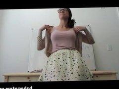 Sexy teacher showing off her ass on cam