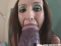 Hailey Young stretches her pussy with a monster dildo