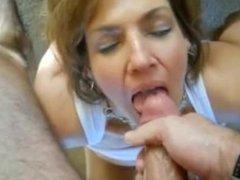 Horny amateur MILF with big boobs cumshot