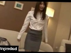 Pretty Japanese babe on a stripping interview