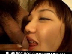 Riho Yuzuki sucks dong and is fucked with vibrator in nasty slit
