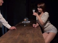 Hot Japanese babe gets cock from four other men plus her bartender