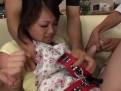 Cute japanese girl gets gangbanged