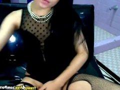 Hot Latina Tranny Jerking her Cock