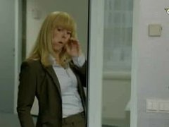 Funny advert - blonde girl gestures blowjob