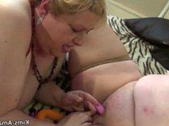 Four way mature amateur BBW lesbians