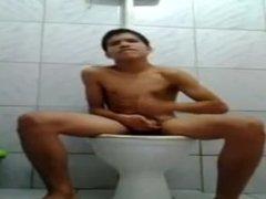 Cute boy toilet masturbation