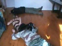 hot French girl destroys 2 men