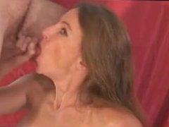 Milf sucks cock and gets cum on he