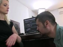 mistress anna slaping and spiting her employee